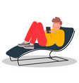 young man lying on couch young man scrolls vector image vector image