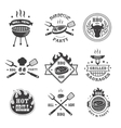 Barbecue and grill labels set BBQ emblems and vector image vector image