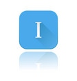 blue icon with i roman numeral with reflection vector image