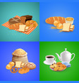 bread concept icons set vector image vector image
