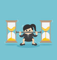 business woman lifts coin very heavy fight vector image