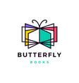 butterfly books logo icon vector image