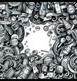 cartoon cute doodles vehicle frame border vector image