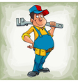 cartoon smiling man plumber in uniform standing vector image vector image