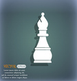 Chess bishop icon On the blue-green abstract vector image