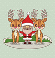 christmas card with santa claus with reindeers on vector image