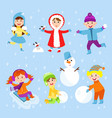 christmas kids playing winter games children vector image