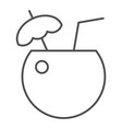 coconut cocktail thin line icon drink vector image vector image