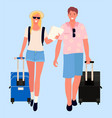 couple travelers man and woman with bags vector image