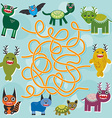 Cute cartoon Monster labyrinth game for Preschool vector image vector image