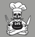 dead skull chef grinning with fork knives and hat vector image vector image