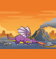 dragon in volcanic mountain vector image vector image