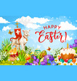easter holiday eggs chickens and lamb of god vector image vector image