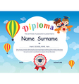 Elementary school Kid Diploma certificate template vector image vector image