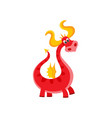 flat cartoon dragon with horns wings vector image vector image