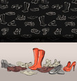 Hand drawing various types of different footwear vector image