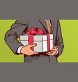 hands of business man hold gift sketch present vector image