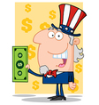Happy Uncle Sam With Holding A Dollar Bill vector image vector image