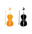 icons of fiddle in golden and black colors vector image