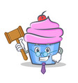 judge cupcake character cartoon style vector image vector image