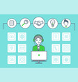 male working in call center and icons set vector image vector image