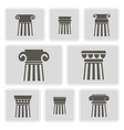 monochrome icons with ancient columns vector image