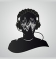 music dj head with headphones human face with vector image