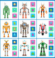 robot with screens and wheels vector image vector image