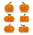 Scary pumpkins for Halloween set terrible holiday vector image