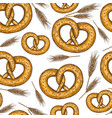seamless pattern of sketch pretzels vector image