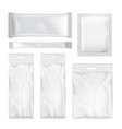 set of transparent and white blank foil bag vector image vector image