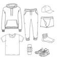 set sketch men clothing vector image vector image