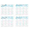 simple 2019-2022 year calendar set vector image vector image