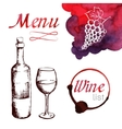 Sketch of wine with watercolor stains vector image vector image