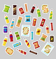 snack product set patch badges fast food snacks vector image vector image