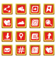 social network icons set red square vector image