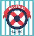 steering wheel ship nautical emblem stripes vector image