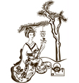 Traditional Japanese Geisha with Shamisen vector image vector image