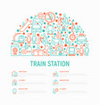 train station concept in half circle vector image vector image