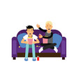 two best friends sitting at the sofa watching tv vector image
