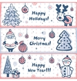 Vintage Christmas banner set of design elements vector image vector image