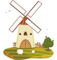 Windmill landscape vector image vector image