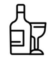 wine bottle and glass icon outline style vector image