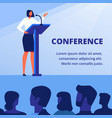 woman in business clothes near podium conference vector image vector image