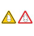 Warning sign of racism Hazard Yellow Sign race vector image