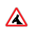 attention donkey driving jackass on red triangle vector image vector image