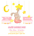 baby girl arrival card - with bunny and stars vector image vector image