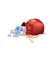 bag with coins and diamond vector image