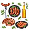 beer and sausages big set of barbeque party food vector image vector image