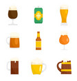 beer bottles glass icons set flat style vector image vector image